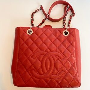 Authentic CHANEL Red/Silver Tote
